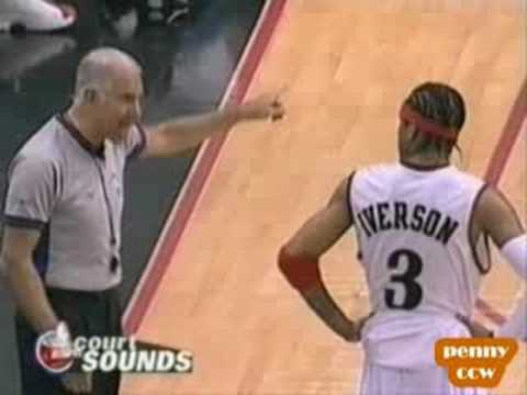 Allen Iverson & Larry Brown argue with the NBA referee