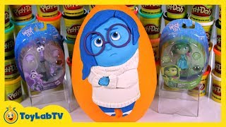 GIANT Sadness Play Doh Surprise Egg with Inside Out Toys Fear & Disgust from Disney Pixar
