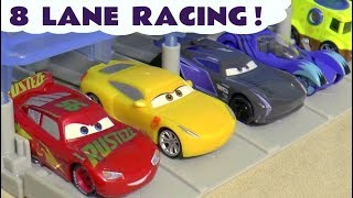 Disney Cars Toys McQueen 8 Lane Knockout Racing with PJ Masks Catboy and funny Funlings TT4U