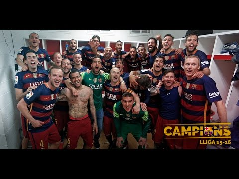 FC Barcelona's League Title celebration 15/16 (II): Players' joy in Granada
