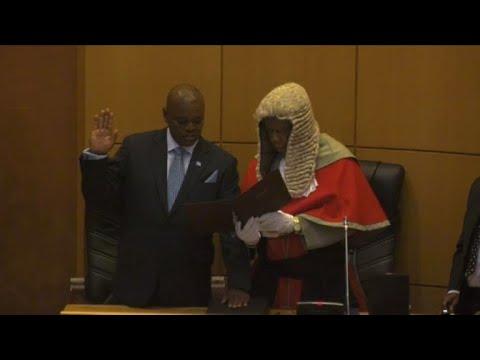 The fifth president of Botswana, Mokgweetsi Masisi, is sworn in