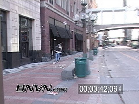 3/20/2004 Very windy downtown Minneapolis, MN stock video news footage