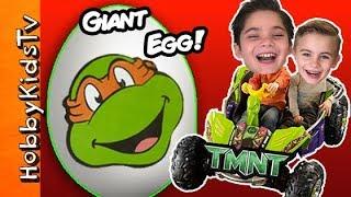 HobbyKids Open a Giant TMNT SurpriseToy Egg