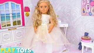 AG Baby Doll Beauty Spa Wedding Day Dress Toys! Vestido de casamento  Hochzeitskleid فستان باربي