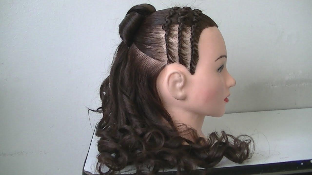 Peinado para primera comuni n con trenza recogida y - Peinados para ninas faciles de hacer ...