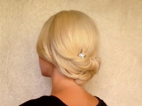Updo hairstyle for medium short shoulder length hair Rolled hair tutorial for prom wedding work