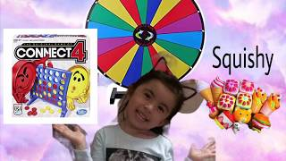 Spinning wheel challenge-Review my squishy-connect 4 toy❤️/Unicorn TV