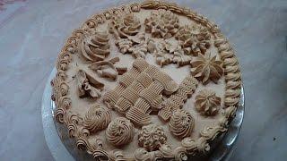 Как украсить торт кремом.
