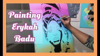 PAINTING ERYKAH BADU | Paint with me |  Ep.1 | Kianaeshe