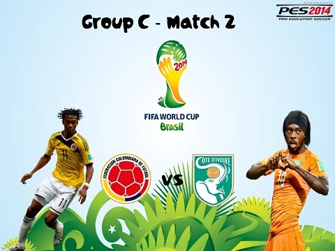 FIFA World Cup 2014 |PES 2014| - Colombia vs Ivory Coast - Group C - Match 2