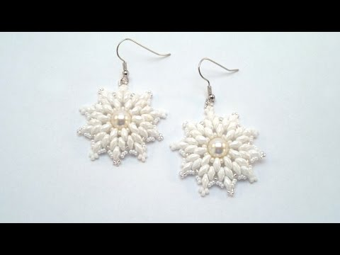 Beading4perfectionists : Snowflake earrings with Swarovski pearl and superduo's beading tutorial