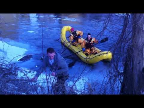 Video of a water rescue of a Black Lab in Preston, Cambridge.