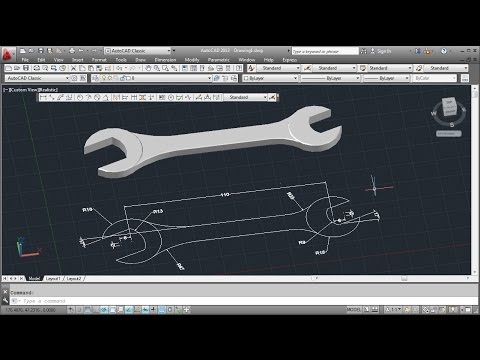 Autocad 3d wrench tutorial basic youtube for Basic cad online
