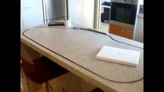 Z Gauge Marklin Swiss Locomotive on the kitchen counter