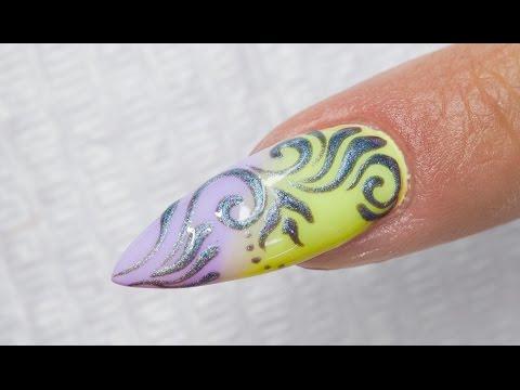 Silver Baroque 3D Ombre Nail Art