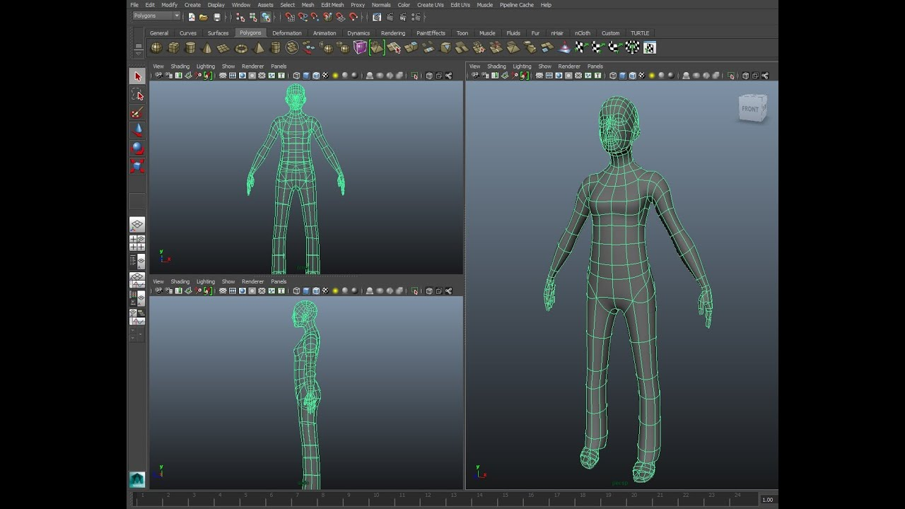Maya Character Modeling Tutorial Part 1 The Body Youtube