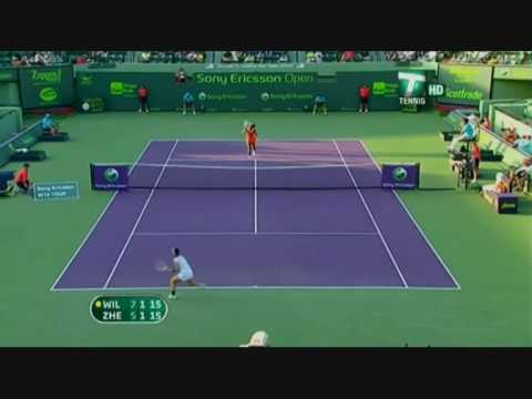 Serena Williams vs Jie Zheng 2009 Miami Highlights.