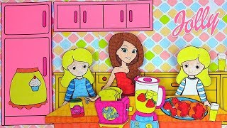 Paper Doll Jolly Going to a Grocery Store & Making Breakfast for Twins