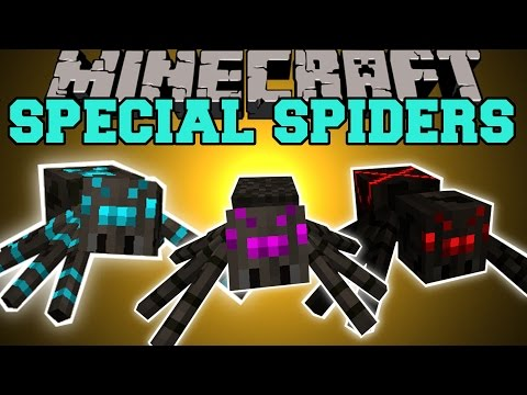 Minecraft: SPECIAL SPIDERS (FAT SPIDERS, GHOST SPIDERS, & MOTHER SPIDERS!) Mod Showcase