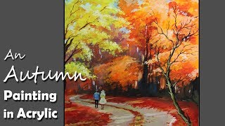 How to Paint An Autumn scene in Acrylic