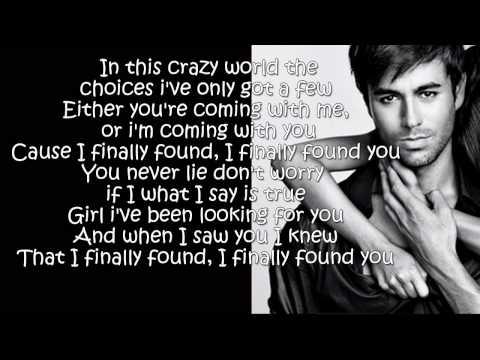 Enrique Iglesias - Finally Found You (lyrics On Screen) video