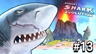 SHARK MEGALODON VS NEW MAP VOLCANO - GAMEPLAY HUNGRY SHARK EVOLUTION #13