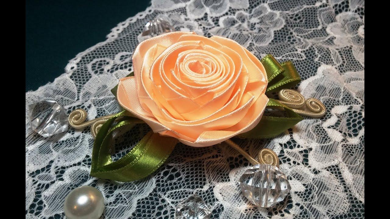 Розы из атласных узких лент своими руками пошаговая инструкция