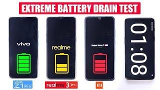 Vivo Z1 Pro vs Realme 3 Pro vs Redmi Note 7 Pro - EXTREME BATTERY DRAIN TEST [SUPER PERFORMANCE]🔥🔋