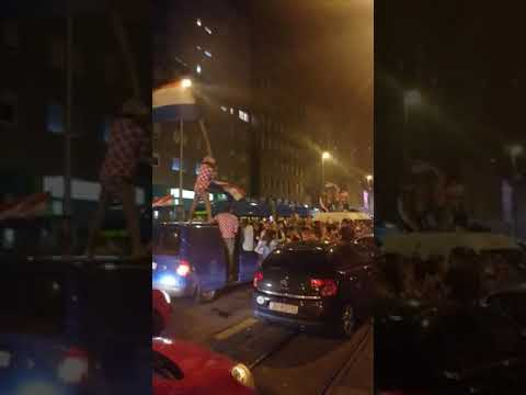 Celebrations in the streets of Zagreb after Croatia - England thumbnail