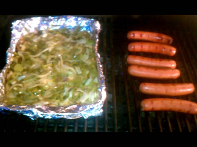 Brats with Green Peppers and Onions