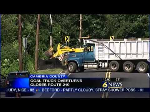 Coal truck crash closes road in Cambria Co.