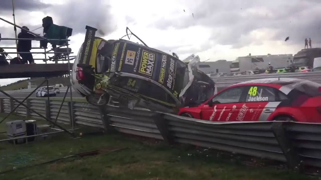 [Race Car Crash Takes Out Camera Tower] Video