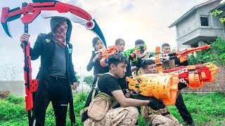 Nerf War: Squad S.W.A.T & Warrior Girl Nerf Guns Mercenary Ghost Army  | Nerf Zombies Movie