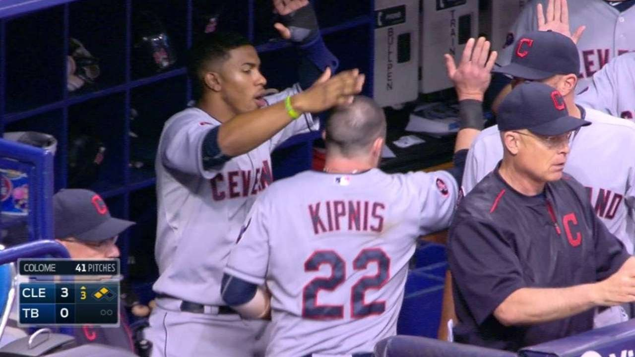 CLE@TB: Brantley drives in a run adding to the lead