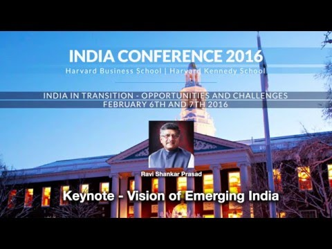 2016 India Conference Keynote: Vision of Emerging India - Ravi Shankar Prasad
