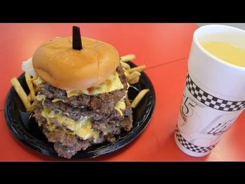 Furious Pete - Eating A 50oz Cheeseburger, 8oz Fries, 24oz Drink in 2:29 (New Record)