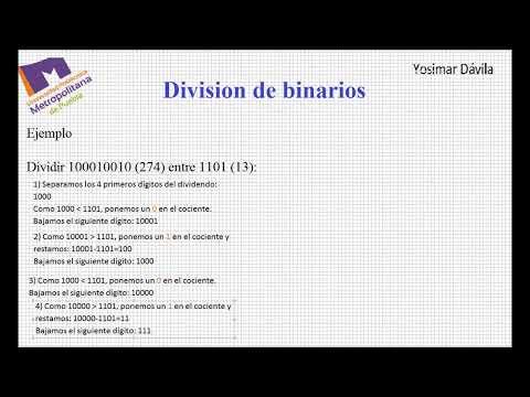 Operaciones con numeros binarios