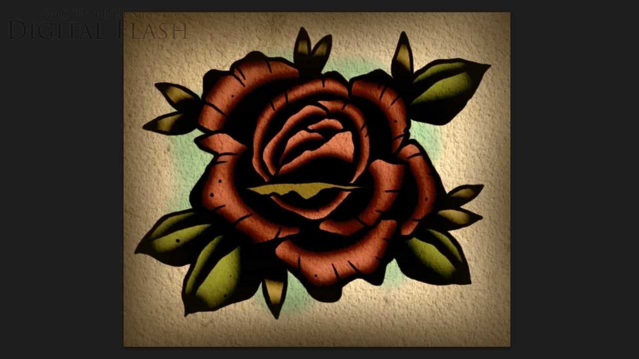 Speed drawing lesson how to draw a rose tattoo neo for Neo traditional rose tattoo