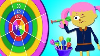 Learn Colors With Darts | Funny Nursery Rhymes & Baby Songs by Teehee Town