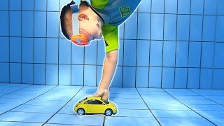 Diving down for VW Bug Toy Car   Swimming Underwater in Pool