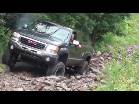 Jeep Cherokee offroad 4x4, GMC Sierra lifted uncut, offroading day