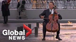 Cellist Yo Yo Ma Performs During Armistice Ceremony At Arc De Triomphe