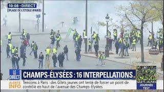 Gilets jaunes: les tensions se concentrent place de l'Étoile, en haut des Champs-Élysées