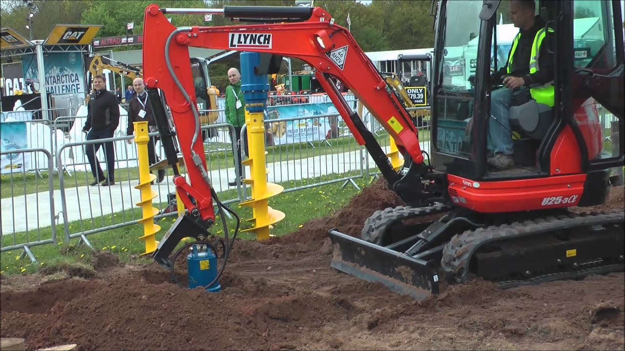 Mini Excavator Working With Auger Youtube