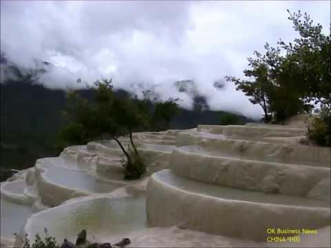 Nahe Zhongdian: Baishutai 'Weiße Wasser-Terrasse' / 'White Water Terrace' 中甸县: 白色的碳酸钙梯田在白水台