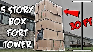 5 STORY BOX FORT MANSION CHALLENGE!! *30 FT HIGH*