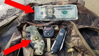 KNIVES AND MONEY FOUND IN LOST BACKPACK! River Treasure Found!