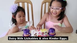 Frozen Princess Sisters Episode 1:  Dairy Milk Lickables & Kinder Joy Eggs.
