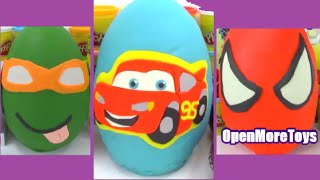 Best Giant Surprise Eggs Disney Cars Ninja Turtles and Spiderman