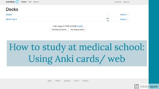 How to study at medical school: Using Anki cards/web